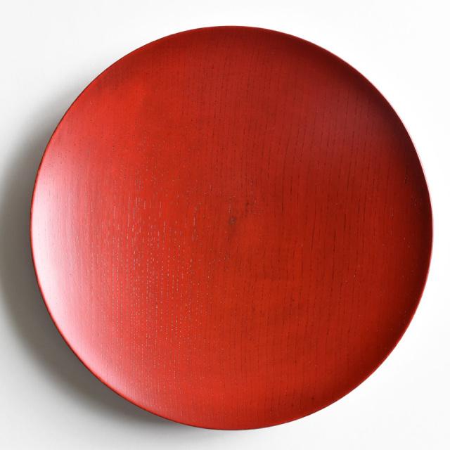 MOKU 丸皿 赤黒スリ 大