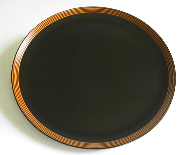 丸盆 筋ぼかし 尺一(製造中止) 木製 漆塗り トレー
