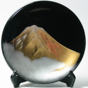 飾り皿 黒 金富士 【送料無料】 木製 漆塗り 絵皿 インテリア