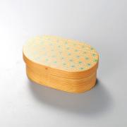 麻の葉 日本の弁当箱 小判 【送料無料】  木製