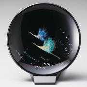 飾り皿(小) 鶴 スタンド付 【送料無料】 漆塗り・木製
