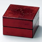 二段姫重 色紙春秋布張 根来 4.5寸 木製