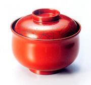 小吸物椀 牡丹彫 朱 (製造中止) 漆塗り