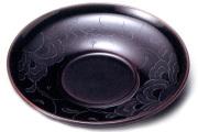 茶托 花彫り 溜 5枚セット 【送料無料】 木製 漆塗り