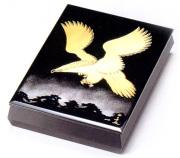 文庫 松に鷹 黒 A4サイズ 【送料無料】 木製 漆塗り 文箱