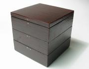 5.5 角重 へら蒔き地 【送料無料】 漆塗りお重箱