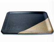 隅切うるし膳 布着せ 錫 (製造中止)【送料無料】 木製 漆塗り ランチョンマット