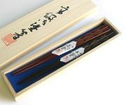 夫婦箸 松葉蒔絵 桐箱入(製造中止) 木製 漆塗り