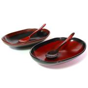 ペアもてなし盛鉢 渕錆 スプーン付き  【まとめ買い割引】 木製 中鉢