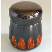 茶筒 欅 漆切子 黒 木製 漆塗り