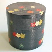 丸三段重箱 千筋 春秋 【送料無料】 木製 漆塗りお重箱
