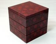 三段重箱 桜唐草  朱