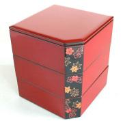 隅切三段重箱 朱 春秋 【送料無料】 木製 漆塗りお重箱