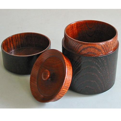 茶筒 欅 黒目はじき 木製 漆塗り