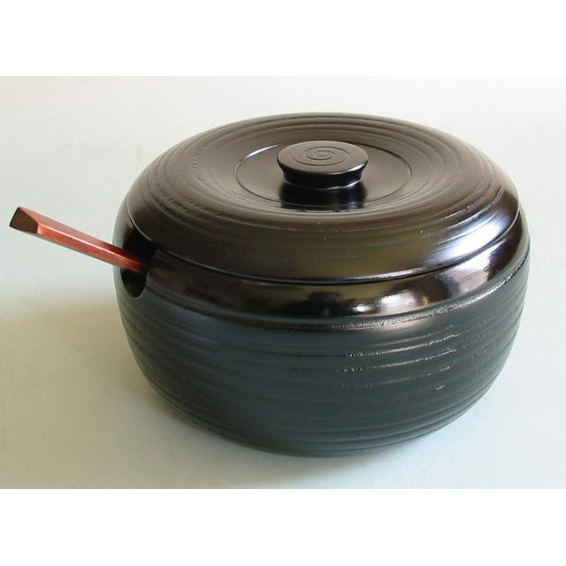 三人飯器 杓子付き 【送料無料】 木製 漆塗り 蓋付き鉢