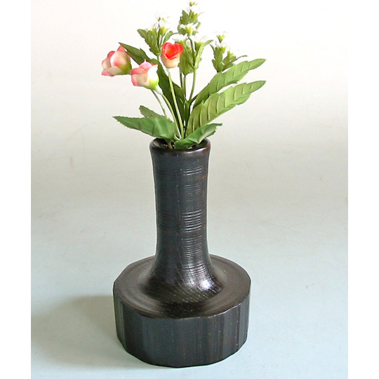 荒挽一輪挿し 欅 木製 漆塗り 花生け 花器 花瓶