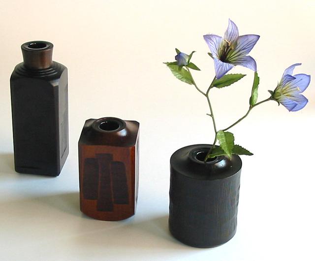 ボトル型一輪挿し   木製 漆塗り 花生け 花器 花瓶(製造中止)