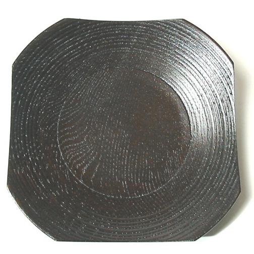 茶托 四方縞筋 【送料無料】 木製 漆塗り