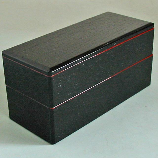 木製二段弁当箱 黒渕朱 木のランチボックス