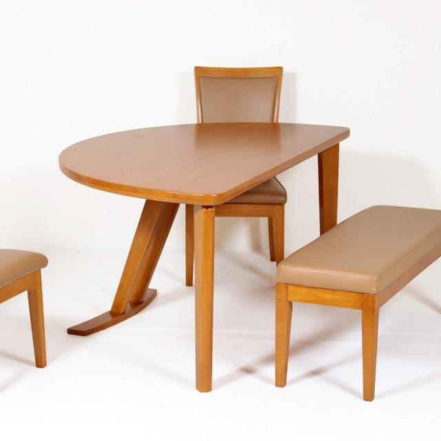 CustomLB-カスタムライト- ダイニングテーブル ラバーウッド材 ライトブラウン 半円 アウトレット 数量限定 送料無料