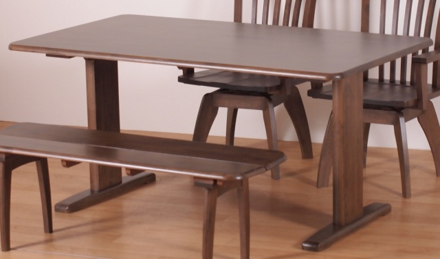 Flame-フレーム-150- ダイニングテーブル ラバーウッド材 ライトブラウン アウトレット 数量限定 送料無料