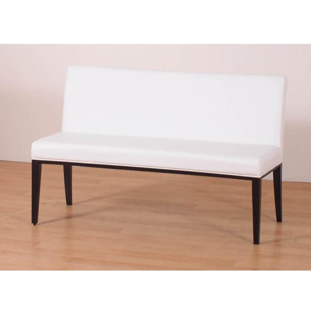 Neo-ネオ- 2Pベンチ(背付) 木製 ラバーウッド材 ダークブラウン PVC ホワイト 数量限定 送料無料