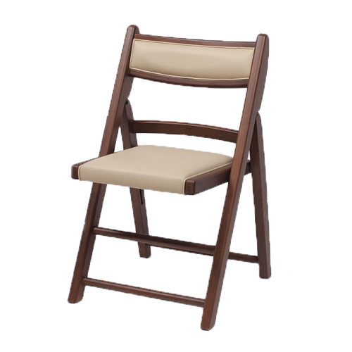 JINO-ジーノ- 折り畳み椅子 木製 コンパクト ラバーウッド材 ブラウン PVC (アイボリー) 数量限定 送料無料