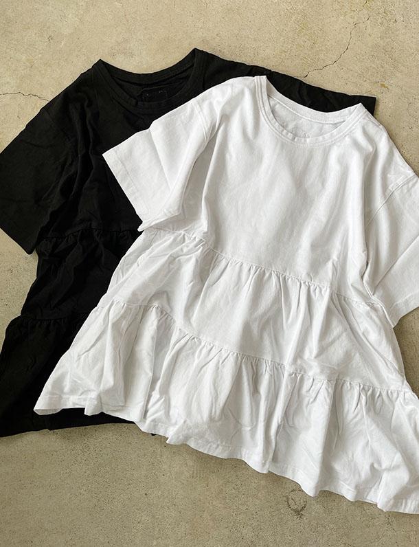 【重要/予約5月下旬入荷予定/着日指定不可】【インスタサブ垢で人気】★春トク★『 普通のTシャツと差をつけてくれるティアードデザイン! 』バイオ加工の味のある風合いも魅力のティアードが可愛い半袖Tシャツ