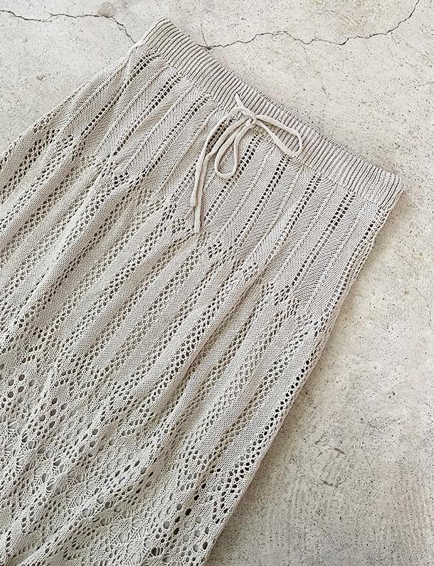 ★夏トク★『 夏らしい透かし編みが大人可愛い裏地付きデザイン最強のニットスカート 』透かし編みニットスカート