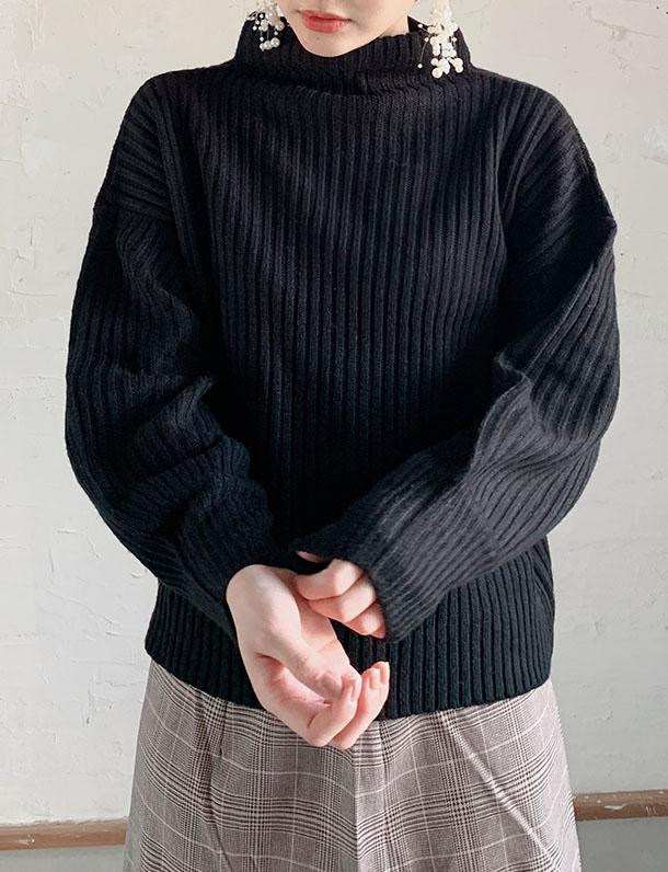 【イタフラバーゲン】【超可愛い・チートすぎる】【残りはクロ・ベージュのみ】『 これで2000円台なんてありえない!みんな大好きゆるたぽニット 』 ゆるハイネック&ボリューム袖が毎年人気のハイネックニットトップス。
