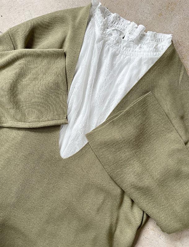 【イタフラバーゲン】『 秒で一目惚れ!ピスタチオ×深Vネックが可愛いすぎる! 』重ね着にぴったりな深Vネック。アクリル綿タッチプルオーバー