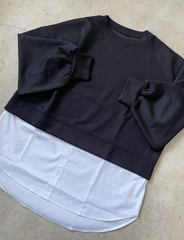【イタフラバーゲン】 『 体型カバーも可愛く!今買うならこれ! 』ダンボール素材ドッキングデザインプルオーバー