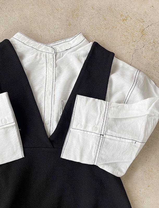 【イタフラバーゲン】【人気の為品薄】  『 配色ステッチで周りと差をつけてくれる涼しげな7分袖ブラウス・・・ 』配色ステッチで引き立つ可愛さ!ガーゼファイユ7分袖シャツ