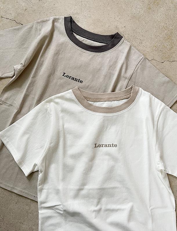 【重要/予約5月下旬入荷予定/着日指定不可】5/14日インスタ投稿!一目惚れアイテム!★夏トク★ 『 秒で一目惚れ!可愛すぎるTシャツを見つけました・・・ 』さりげないロゴと配色が可愛い。リンガーネックTシャツ