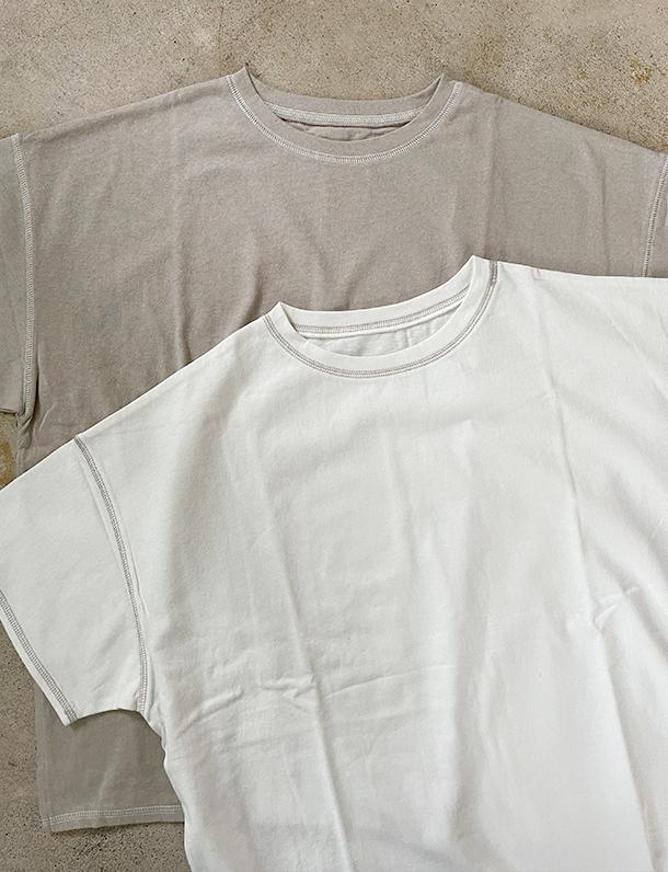 【イタフラバーゲン】『 配色ステッチが可愛いTシャツは一枚は必須! 』さりげない配色ステッチが魅力。オーバーサイズTシャツ