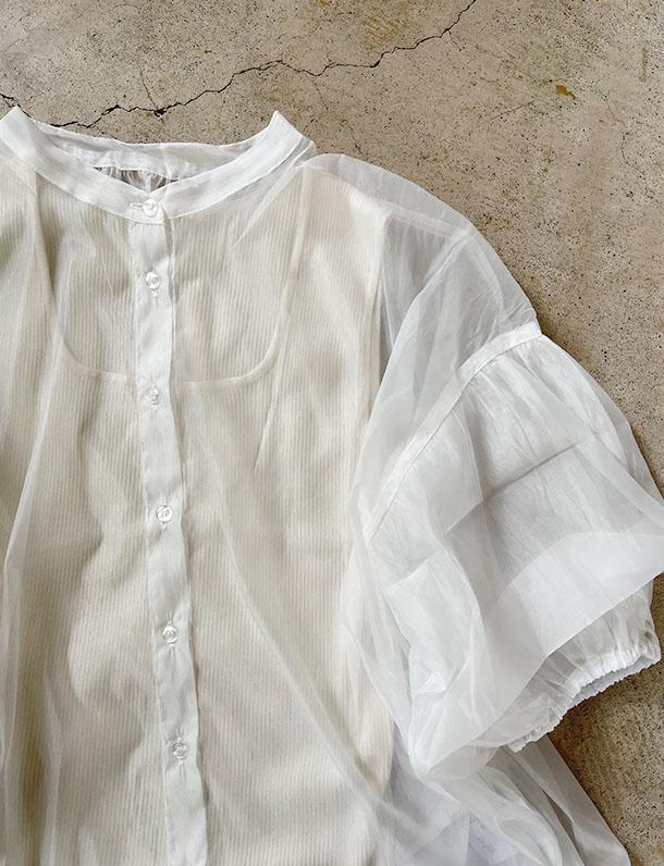 ≪7月下旬入荷予定/着日指定不可≫エアリーなオーガンジー素材で透け感を楽しめる!ボリューム袖ブラウス