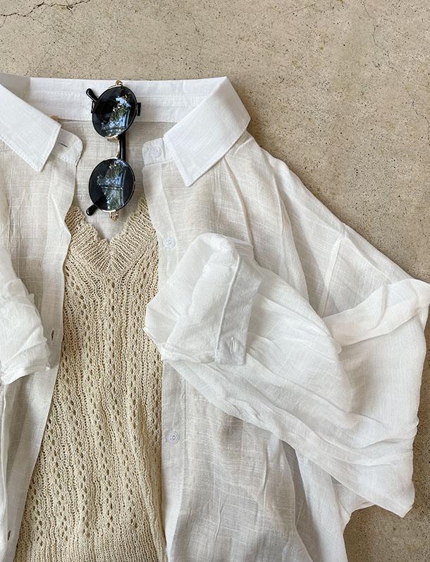 【イタフラバーゲン】 透け感とルーズさが大人可愛い!シャドーストライプ無地ロングシャツ