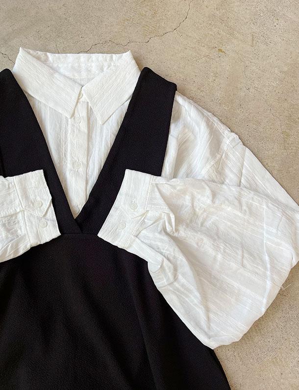 【重要/予約8月中旬入荷予定/着日指定不可】★夏トク★ 程よい透け感とオーバーサイズがいい!ボリューム袖ドビーストライプシャツ