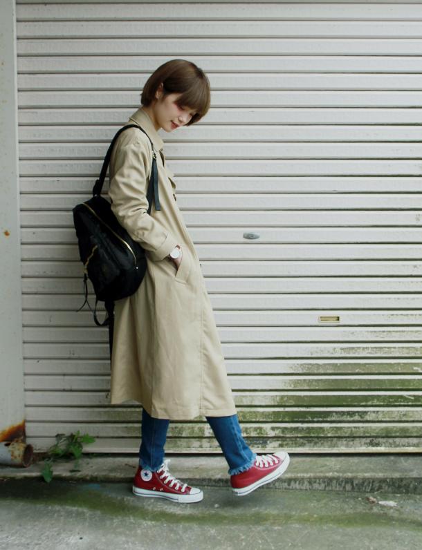 <即納・完売終了>大本命『トレンチコート』 ついに上陸。 もっとも定番で着まわしやすいデザインのロングトレンチコート。