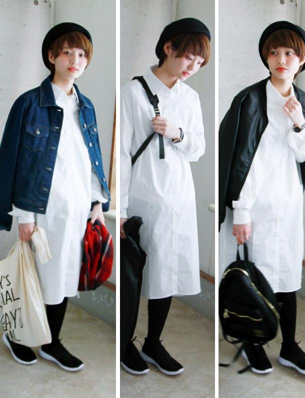 < 2017夏セール ><即納> 『 真っ白な清潔感 』 がウリのロングシャツワンピついに入荷。 毎年人気の定番着回しアイテム。