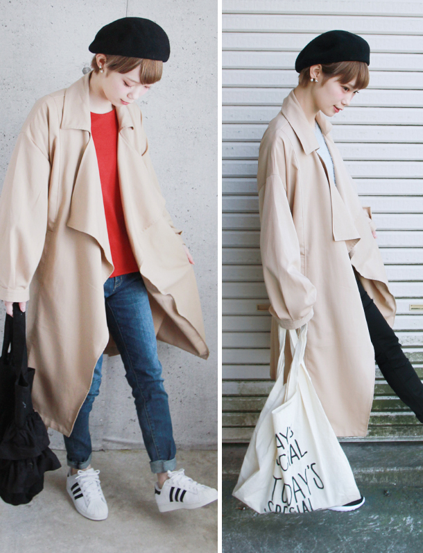 < 2017夏セール ><即納・完売終了>   『 ドレープのトレンチ可愛すぎ 』 袖のぽっこりしたところやドレープなデザインが今年らしいトレンチコート発売。