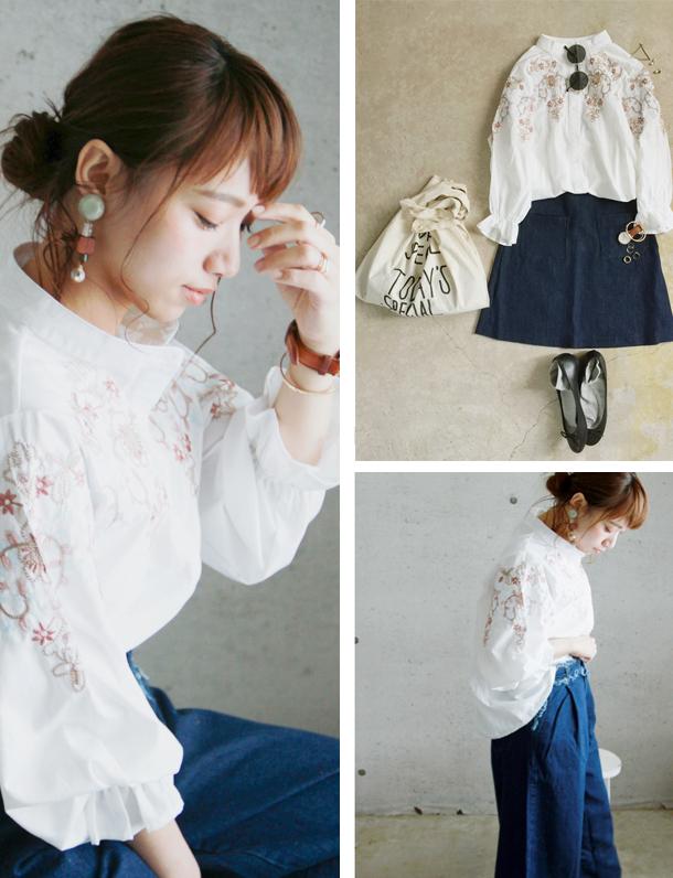 ≪予約販売/6月下旬入荷予定/着日指定不可≫  この可愛さ 『 プレミアム 』 。 バルーン袖&刺繍が可愛すぎる件。 とうとうスタンドカラーの刺繍シャツ発売。