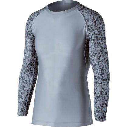 おたふく 冷感・消臭パワーストレッチ長袖クルーネックシャツ グレー×迷彩 :JW-623 <おたふく手袋>