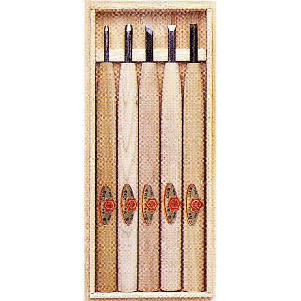 三木章刃物本舗 彫刻刀セット 5本組 (桐箱入り) 140036