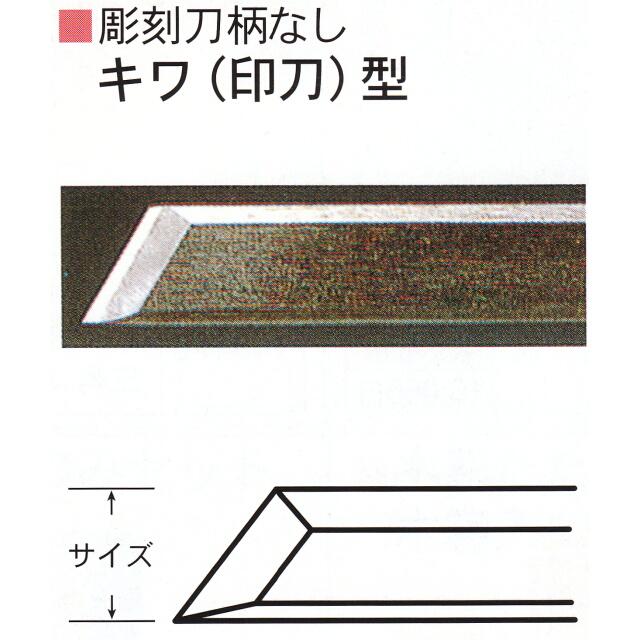 三木章刃物本舗 彫刻刀柄無し(共柄) キワ(印刀)型 24mm