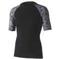 おたふく 冷感・消臭パワーストレッチ半袖クルーネックシャツ ブラック×迷彩 :JW-628<おたふく手袋>