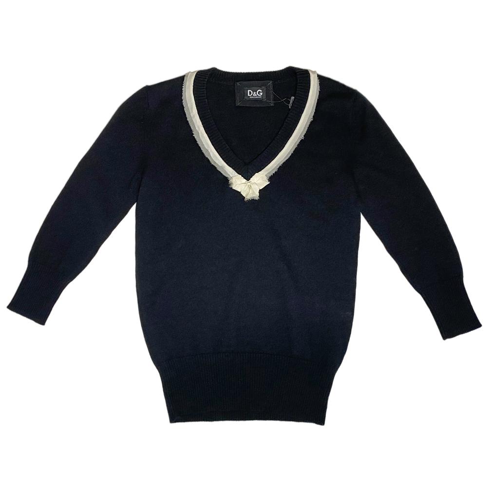 D&G  Vネック 上品な5分袖セーター 黒 #XS