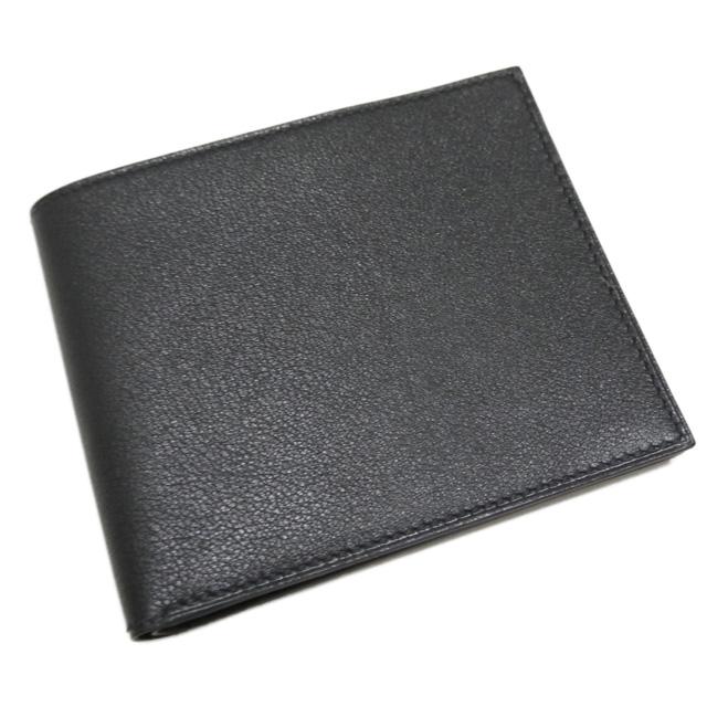 エルメス メンズ シルクイン 二つ折り財布 黒×ブルー HERMES
