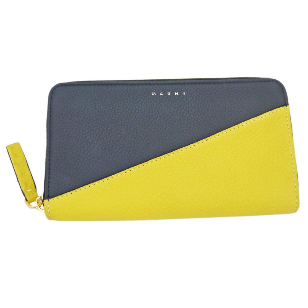 マルニ バイカラー レザーラウンドファスナー長財布 濃紺×黄色 MARNI