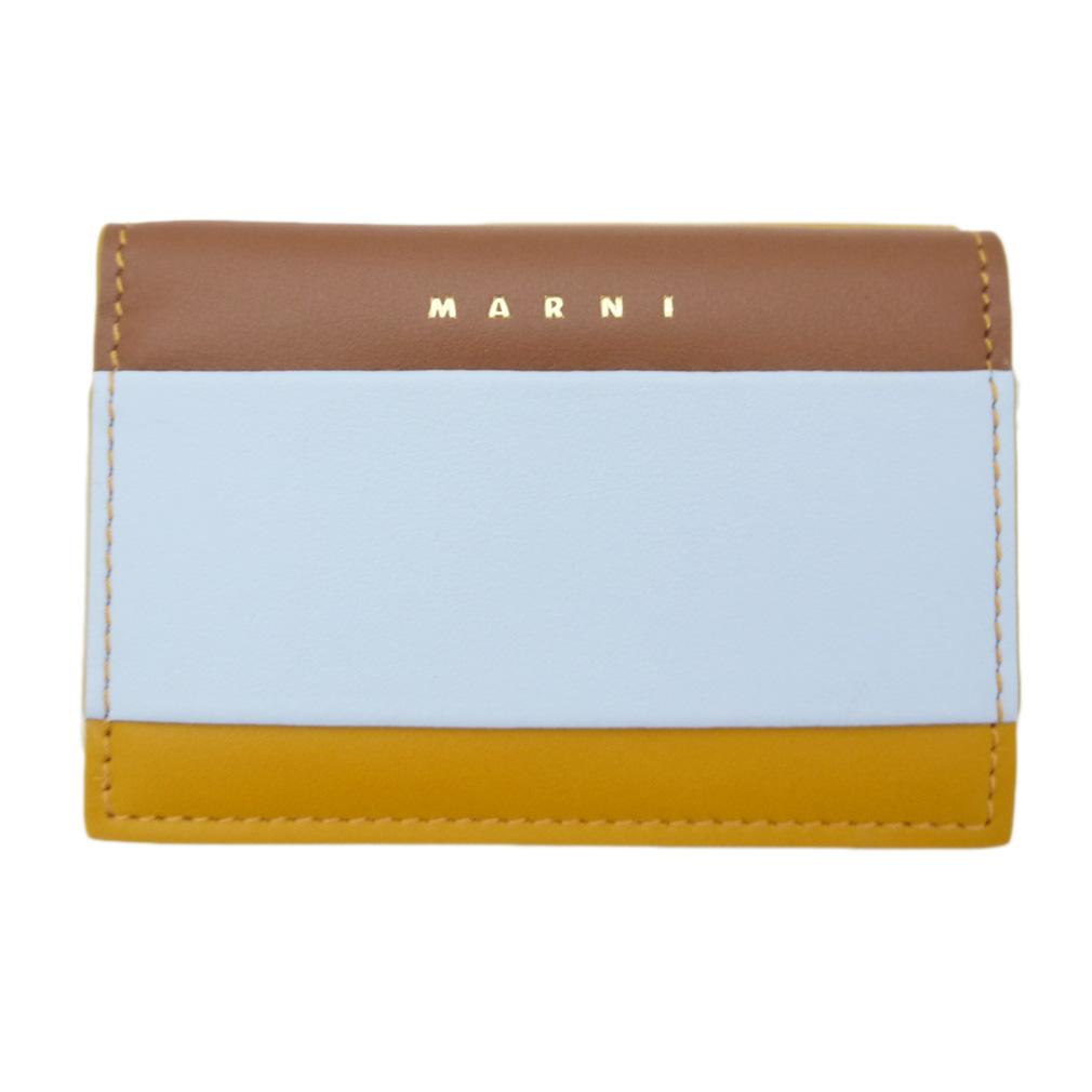 マルニ レザーコンパクト三つ折り財布 茶×ブルー MARNI